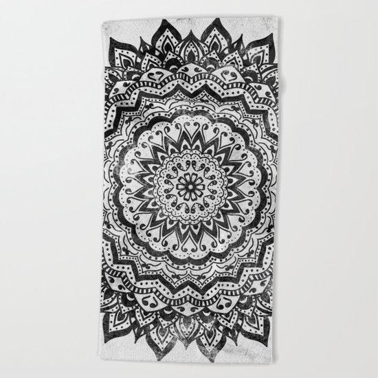 BLACK JEWEL MANDALA Beach Towel