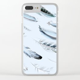Cosmic Feathers Blue Dust Clear iPhone Case