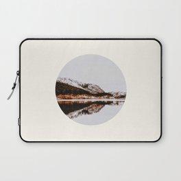 Mid Century Modern Round Circle Photo Graphic Design Reflective Mountain Lake Autumn Forest Laptop Sleeve