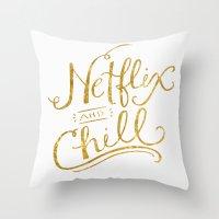 netflix Throw Pillows featuring Netflix & Chill by Keri O'Mara