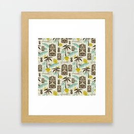 Island Tiki - Tan Framed Art Print