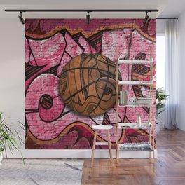 Pink Basketball Graffiti on Brick Wall Wall Mural