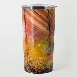 Sailing ships sunset Travel Mug