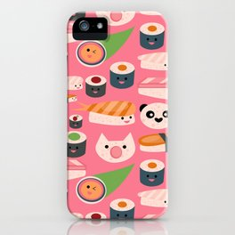Kawaii sushi hot pink iPhone Case