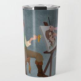Tangled - Rapunzel Short Brown Hair and Flynn Rider Travel Mug