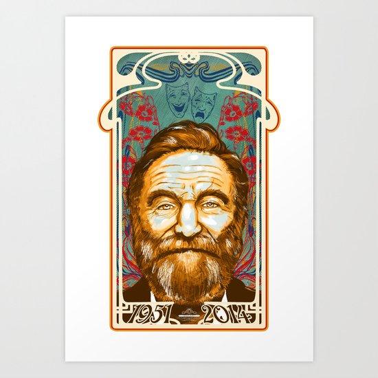 Robin Williams Tribute Art Nouveau / Geek Poster / Fine Art Print Tribute by Tom Ryan's Studio Art Print