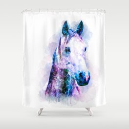 Horse Watercolor, Horse Print, Watercolor Print, Watercolor Animal, Horse Painting, Horse Gift Print Shower Curtain