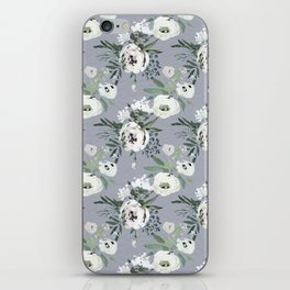 Hand painted modern gray white watercolor floral iPhone Skin