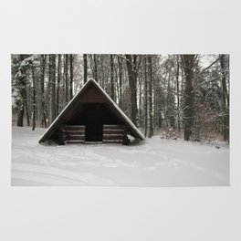 Log Hut In The Snow Rug