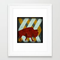 buffalo Framed Art Prints featuring Buffalo by Wood Grian & Grits