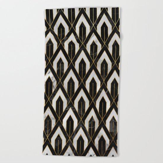 Art Deco Marble Pattern Beach Towel