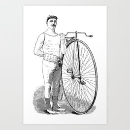 Vintage Bicyclist Art Print