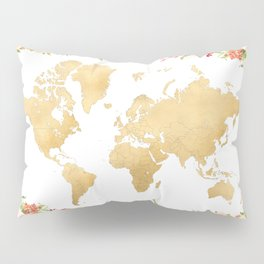 Floral and gold world map without labels Pillow Sham