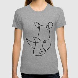 rhino one line - menace T-shirt
