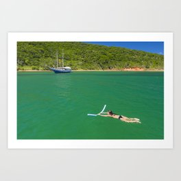 Woman swimming in green waters in Brazil Art Print