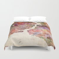 istanbul Duvet Covers featuring Istanbul by MapMapMaps.Watercolors