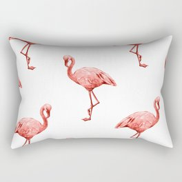 Living Coral Flamingo Fun Rectangular Pillow