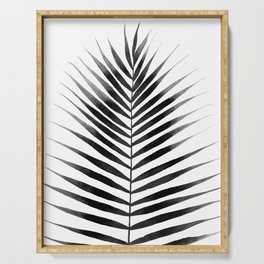 Palm Leaf Watercolor | Black and White Serving Tray