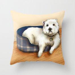Dexter the Westie in His Doggie Bed Throw Pillow