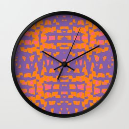 Orange And Pink On Violet Abstract Wall Clock