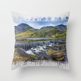 Snowdonia Tryfan Painting Throw Pillow