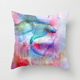 Iridescent Abstract Betta Throw Pillow