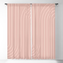 Minimal Line Curvature - Vintage Pink Blackout Curtain