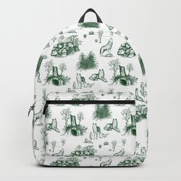 Eurasian Wolf Toile Pattern (Green) Backpack