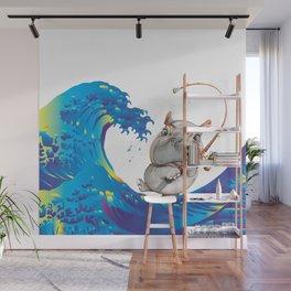 Hokusai Rainbow & Hippopotamus Fishing  Wall Mural