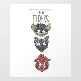 Monster Hunter World Elder Dragons Dropdown Version Art Print