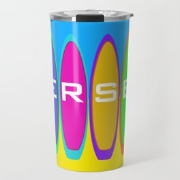 Jersey Surfboards on the Beach Travel Mug