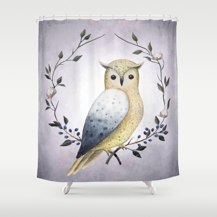 A Long Eared Owl On Laurel Shower Curtain