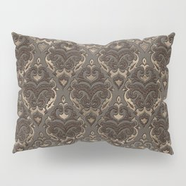 Oriental Pattern -Pastels and Brown Leather texture Pillow Sham