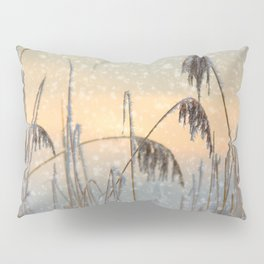 Phragmites Reed grass in the snowfall Pillow Sham