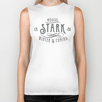 house stark Biker Tanks featuring House Stark Typography by P3RF3KT