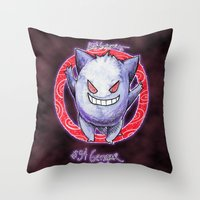gengar Throw Pillows featuring 94 - Gengar by Lyxy
