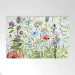 Floral Watercolor Botanical Cottage Garden Flowers Bees Nature Art Welcome Mat