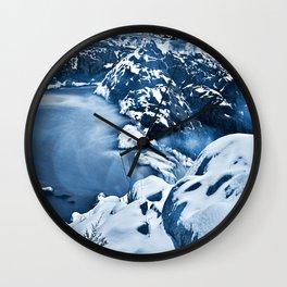 Great Winter Falls - Bokeh Blue Wall Clock