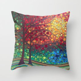 Winter sunset dot art by Mandalaole Throw Pillow
