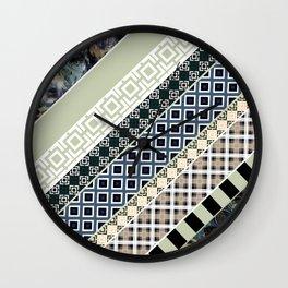 Folk textiles , patchwork Wall Clock