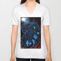 knight V-neck T-shirts featuring Knight by Dmarmol