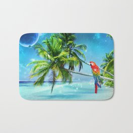 Parrot in the beach Bath Mat