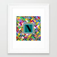 monogram Framed Art Prints featuring N Monogram  by mailboxdisco