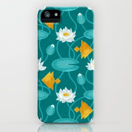 Tangram goldfish and water lillies iPhone Case