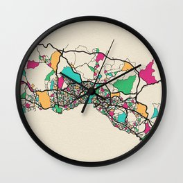 Colorful City Maps: Istanbul, Turkey Wall Clock