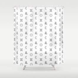 Gemini/Leo + Sun/Moon Zodiac Glyphs Shower Curtain