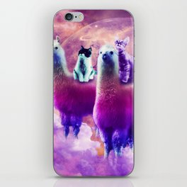 Kitty Cat Riding On Rainbow Llama In Space iPhone Skin