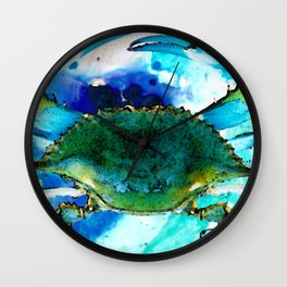 Blue Crab - Abstract Seafood Painting Wall Clock