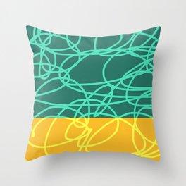Chaos Lines On Green Yellow Horizon Minimal Abstract Art Deneb Throw Pillow