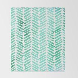 Handpainted Chevron pattern - light green and aqua - stripes #Society6 Throw Blanket